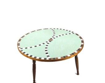 Mid Century Coffee Table Mosaic Tile Round Table Eames Era