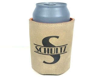 Personalized Beverage Can Holder, Leather Beer Can Holder, Custom Leather Can Holder