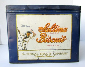 Vintage 1920 Saltina Biscuit Uneeda Bakers Lithographed Advertising Counter Top Large Tin with Sailor, Storage Bin, National Biscuit Co