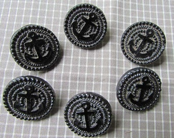 Set of 6 Antique Victorian 1880's Black Jet Glass Decorative Buttons w Anchor and Beadwork Edge, Nautical Theme Buttons