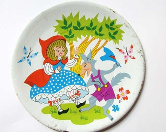 Vintage Lithographed Tin Doll's Plate, Red Riding Hood and the Wolf, Tin Dish, 1960 Vintage, Toy Plate, Fairy Tale Dish, Nursery Shelf Decor