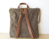 bucket backpack • brown canvas backpack • chocolate brown waxed canvas - canvas and leather backpack - gifts under 100  • scout