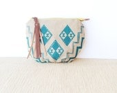 clutch • gifts under 50 - geometric print • teal geometric print - hand screenprinted - zipper pouch • vukani