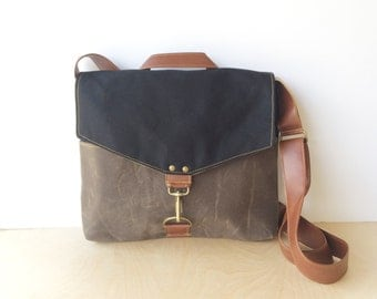 commuter • mens or womens crossbody messenger bag • black canvas - brown waxed canvas - industrial canvas • scout