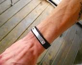 Mens Bracelet, Mens Leather Bracelet, Mens Personalized Leather Bracelet, Leather Cuff, Thick Leather Bracelet