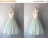 STOREWIDE SALE 1950s Skirt / 50s Full Cotton Skirt / Pale Green Embroidered 1950s Patty Woodard Skirt