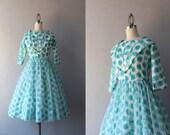 1950s Dress / Vintage 50s Party Dress / 1960s Polka Dot Chiffon Dress