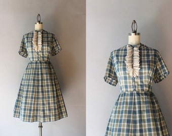 Vintage 60s Dress / 1960s Plaid Cotton Day Dress / Early Sixties Tuxedo Lace Full Skirt Dress
