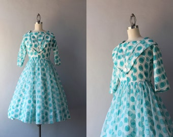 1950s Dress / Vintage 50s Party Dress / 1960s Polka Dot Chiffon Dress