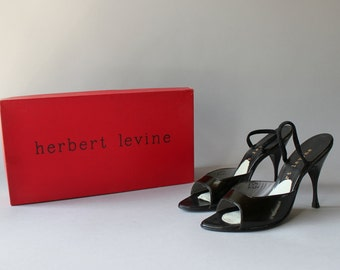 1950s Shoes / Vintage 50s Black Leather Mules / Fifties Herbert Levine Slingback Stiletto Heels