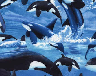 Orca Whales Blue Water Michael Searle Timeless Treasures Fabric 1 yard