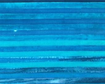 Stripes Ocean Blue Elementals Artisan Batiks Kaufman Fabric 1 yard
