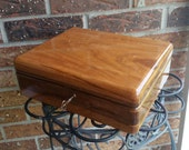 Handcrafted Cherry and walnut Wood Lock Box
