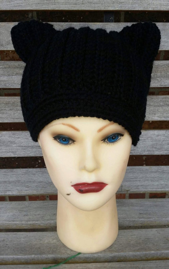 Crochet Ribbed Beanie with Cat ears Kitten by ...