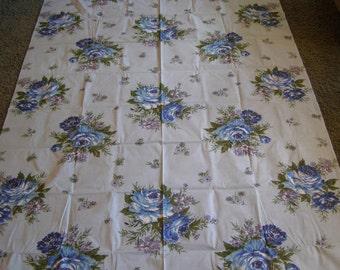 Vintage Tablecloth ~ Blue Roses