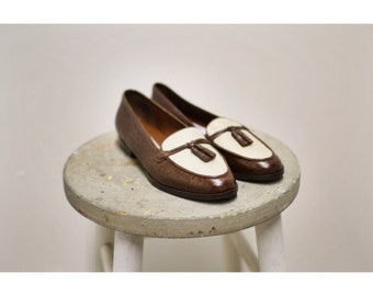 1990s Leather and Linen Etienne Aigner Loafers