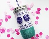Ariel /// Mermaid /// Glitter Mason Jar Tumbler // Glitter Tumbler // Glitter Glass