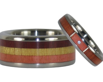 Titanium Ring Set with Stack Diamond Ring and Multicolored Wood Band