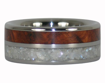 White Pearl and Amboyna Titanium Ring