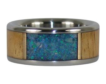 Blue Lab Opal Eucalyptus Wood Ring