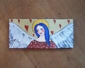 Angel  Painting Original Folk Art Hearts and Love FREE SHIPPING