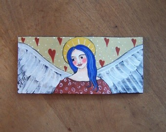 Angel Valentines Painting Original Folk Art Hearts and Love FREE SHIPPING
