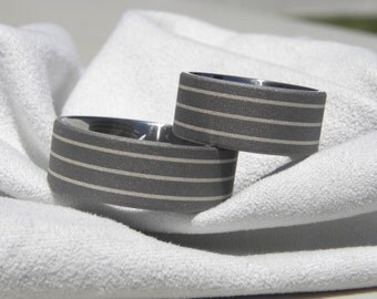 Titanium Ring SET, Matching Wedding Bands, Sterling Silver Pinstripes, Sandblasted