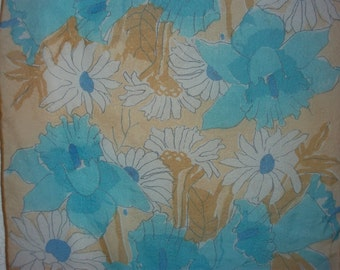 Blue and Brown Daisy Iris Floral Pattern Long Sheer Silk Scarf Vintage Vera 60s