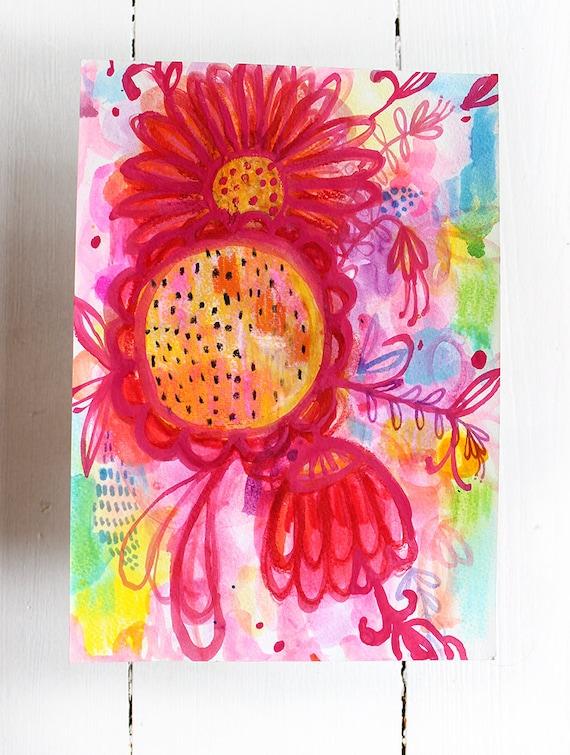 Original Mixed Media artwork Happy Flowers watercolour original