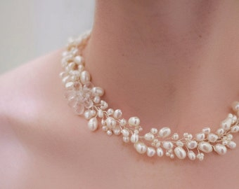 Freshwater Pearl with Crystal Flower Necklace by Virginiageigerjewels