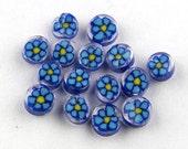 Handmade Lampwork Murrine Cobalt/Turqoise Daisy 104 COE Murrini slices 15 - R