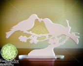 Bird Cake Topper, LOVEBIRD Keepsake Snowy White Dove, Rustic Bird Art Mourning Doves Love Birds *Original Design*