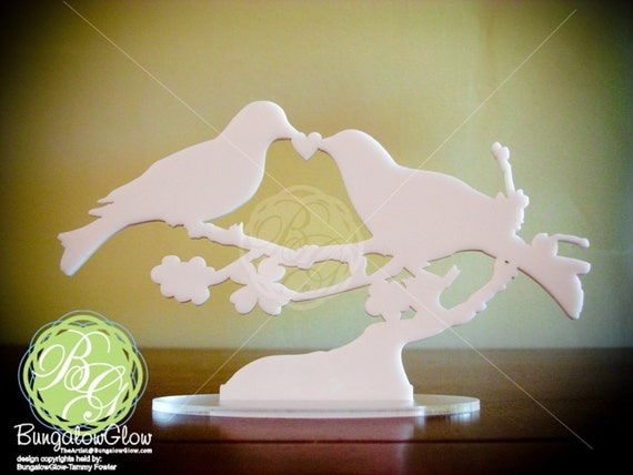 Bird Cake Topper, LOVEBIRD Keepsake Snowy White Dove, Rustic Bird Art Mourning Doves Love Birds *Original Design*