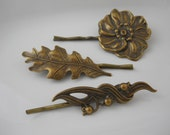 Woodland Hair Trio Leaf Flower Lily of the Valley Brass Bobby Pins Nature Hair Pin Clip Accessory Up Do Hair Accessories