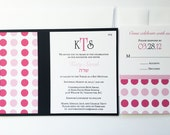 Hot pink, black Polka dot Bat Mitzvah Invitation, Modern wedding invitations, colorful, unique, sweet sixteen, fun, ribbon, playful -Sample