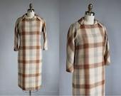 1960s checkered plaid tan - grey wool mid - length dress / xs - s