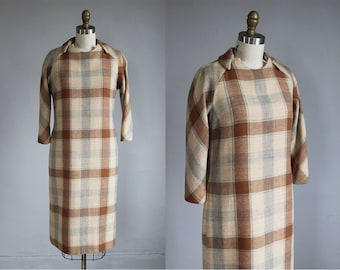 1960s checkered plaid tan - grey wool mid - length dress / xs - s