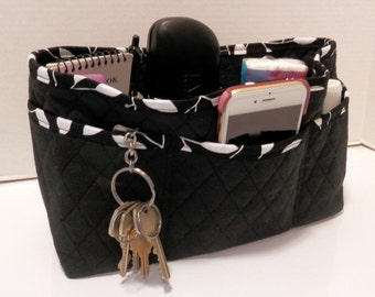 "Purse Organizer Insert/Large/Quilted/4"" Enclosed / Black and White"
