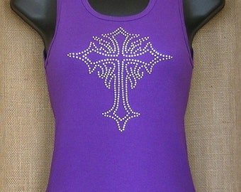 Rhinestone T-shirt, Cross Rhinestone T-shirt, Rhinestone Cross, Cross T-shirt
