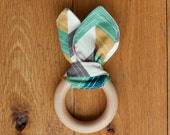 Organic Baby Teething Ring, Natural Wooden Teether, Chevron, Organic Cotton Flannel, Baby Shower Gift by Sweetpea and Co.