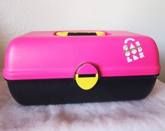 CABOODLE // Vintage 80s 90s Makeup Case with Mirror Carryall Hot Pink and Black Retro Original Caboodles Craft Storage Jewelry Box Travel