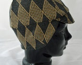 Argyle City Winter Bike Hat (L) of Vintage Recycled Knit With Earflap