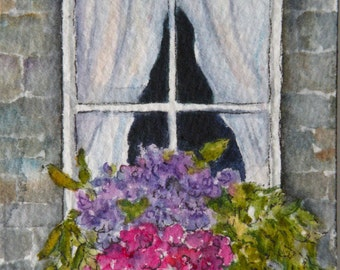 Art Card ACEO Watercolor of Window with Flowers Original Art Original Watercolor Scotland Art Artist Trading Card