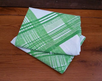 Vintage Retro Print Green Plaid Pillow Cases Great for Upcycling and Repurposing Set of 2