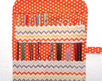 Orange Yellow Knitting Needle Roll, Grey White Crochet Hook Case, Polka Dots DPN Double Pointed Needle Storage Organizer, Brushes Holder