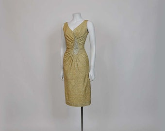 50s dress / Lounge Singer Vintage 1950's Jeweled Gold Lame Wiggle Dress