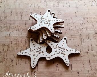 100 wood engraved starfish shaped hang tags