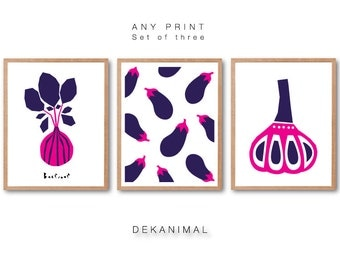 Kitchen Wall Decor Home Decor Beetroot Print Eggplant Print Garlic Print