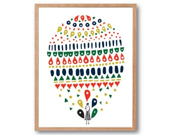 Baby Nursery Decor, PEACOCK BALLOON Print, Boy Room decoration, Baby Peacock, Bird Art Print, Peacock Print, Peacock Decor, Baby Bird Print
