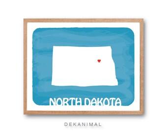 North Dakota Map - Water Blue - Personalized Custom Watercolor Style Love State Map Wedding Birthday Anniversary GIft Children Kids Wall Art
